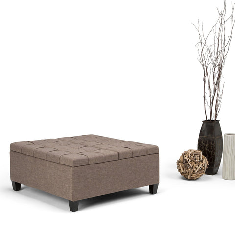 Fawn Brown Linen Look Polyester | Harrison Coffee Table Storage Ottoman