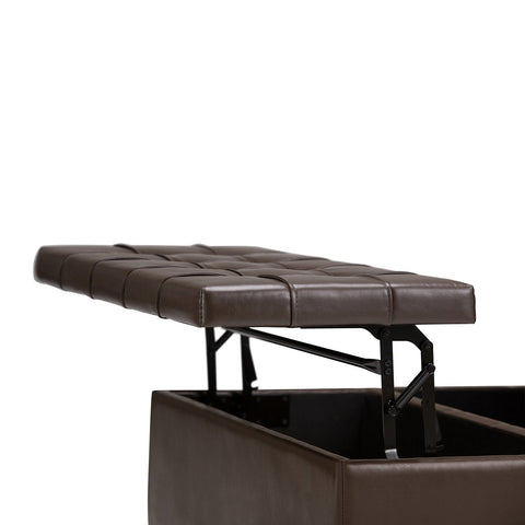 Chocolate Brown PU Faux Leather | Harrison Coffee Table Storage Ottoman