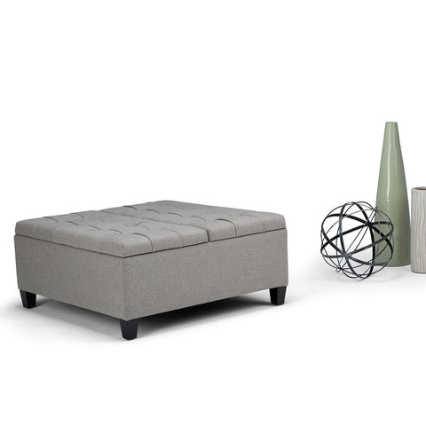 Dove Grey Linen Look Polyester | Harrison Coffee Table Storage Ottoman