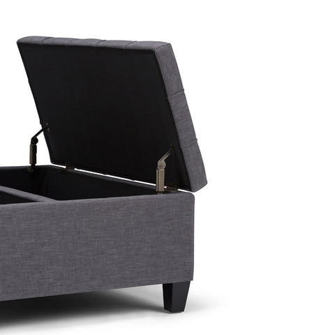 Slate Grey Linen Look Polyester | Harrison Coffee Table Storage Ottoman