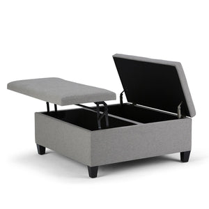 Dove Grey Linen Look Polyester | Ellis Coffee Table Storage Ottoman