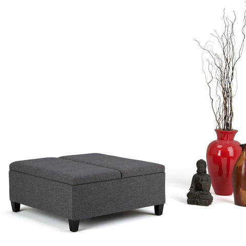 Slate Grey Linen Look Polyester | Ellis Coffee Table Storage Ottoman