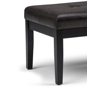 Distressed Black Air Leather | Lacey Tufted Ottoman Bench