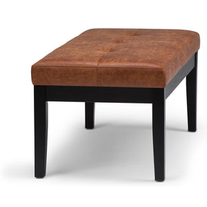 Distressed Saddle Brown Air Leather | Lacey Tufted Ottoman Bench