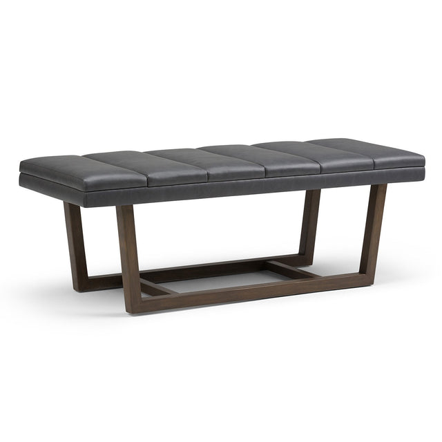 Load image into Gallery viewer, Stone Grey PU Faux Leather | Jenson Ottoman Bench