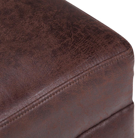Distressed Brunette | Oscar Extra Wide Ottoman Bench