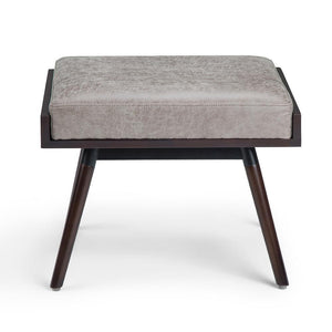 O'Brian Footstool in Distressed Grey Taupe Air Faux Leather