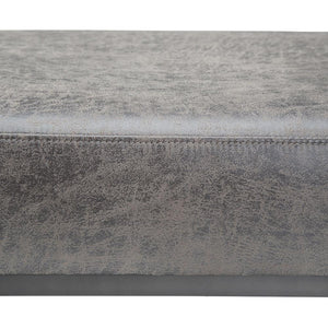 Bowie Large Ottoman Bench in Distressed Charcoal Air Faux Leather