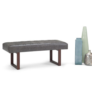 Driscol Large Ottoman Bench in Distressed Charcoal Air Faux Leather