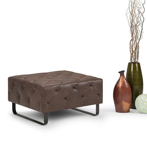 Orla Square Coffee Table Ottoman in Distressed Cocoa Brown Air Faux Leather