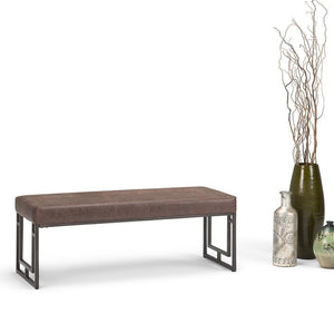 Trey 48 inch Ottoman Bench in Distressed Cocoa Brown Air Faux Leather