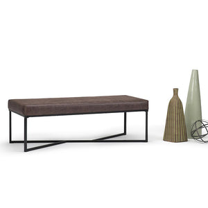 Logan 54 inch Ottoman Bench in Distressed Cocoa Brown Air Faux Leather