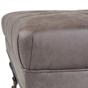 Grey Faux Leather | Marcus Large Square Coffee Table Ottoman