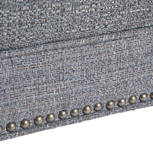 Pebble Grey Tweed Fabric | Marcus Large Square Coffee Table Ottoman