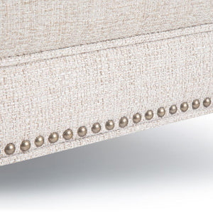 Platinum Tweed Fabric | Marcus Large Square Coffee Table Ottoman