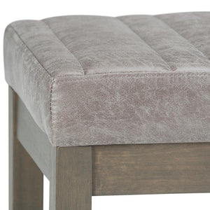 Casey Ottoman Bench in Distressed Grey Taupe Air Faux Leather