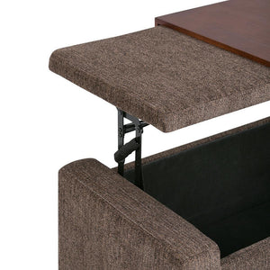 Bretton Lift Top Storage Ottoman in Deep Umber Brown Fabric