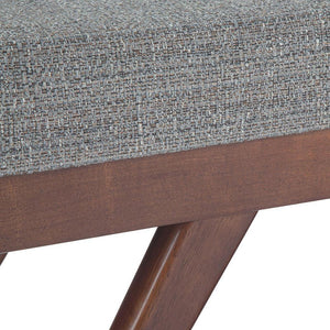 Pebble Grey Tweed Look Fabric | Chanelle Mid Century Ottoman Bench