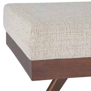 Platinum Polyester Fabric | Chanelle Mid Century Ottoman Bench