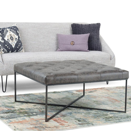 Distressed Black Faux Air Leather | Portman Square Coffee Table Ottoman