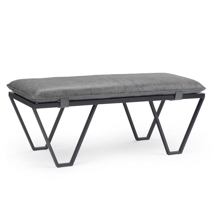 Distressed Black Faux Air Leather | Bannister Pillow Top Ottoman Bench