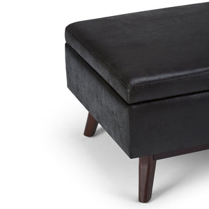 Distressed Black 34 x 26 | Owen Coffee Table Ottoman with Storage