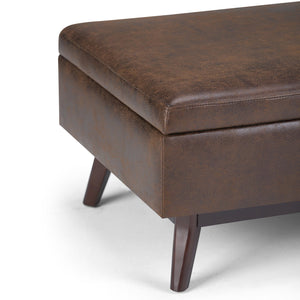 Distressed Chestnut Brown 34 x 26 | Owen Coffee Table Ottoman with Storage