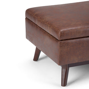 Distressed Saddle Brown 34 x 26 | Owen Coffee Table Ottoman with Storage