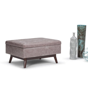 Distressed Grey Taupe 34 x 26 | Owen Coffee Table Ottoman with Storage