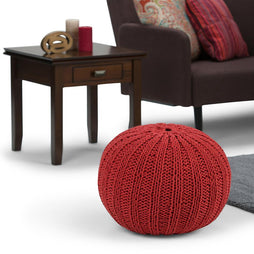Candy Red | Shelby Hand Knit Round Pouf