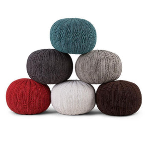 Shelby Hand Knit Round Pouf