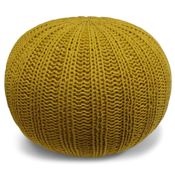 Mustard | Shelby Hand Knit Round Pouf