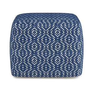 Patterened Blue and Natural | Graham Square Pouf
