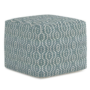 Patterned Teal and Natural | Graham Square Pouf