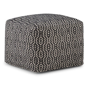 Black and Natural | Graham Square Pouf