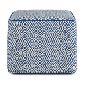 Patterned Blue and Natural | Brynn Patterned Square Pouf