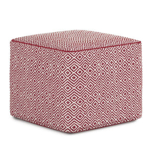Patterned Maroon and Natural | Brynn Patterned Square Pouf