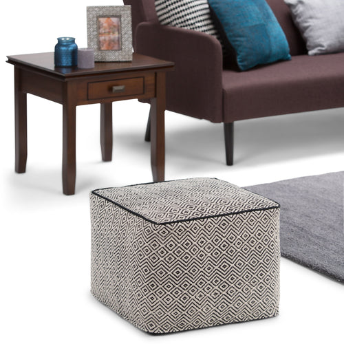 Patterned Black and Natural | Brynn Patterned Square Pouf