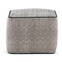 Load image into Gallery viewer, Patterned Black and Natural | Brynn Patterned Square Pouf
