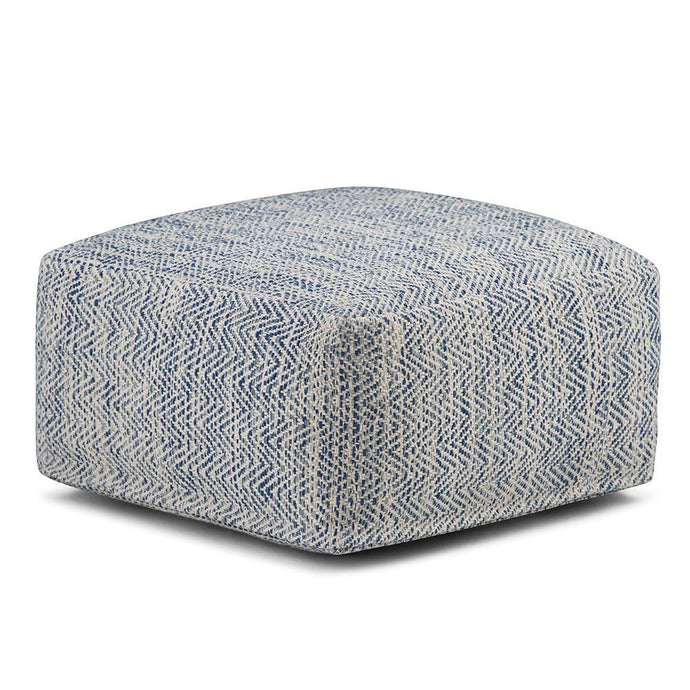 Patterned Denim Melange | Nate Patterned Square Pouf