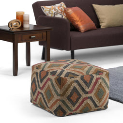 Johanna Kilim Patterned Square Pouf