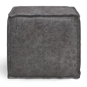 Distressed Black | Brody Square Pouf