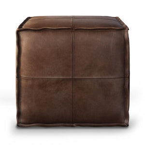 Brody Square Leather Pouf