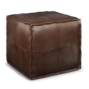 Distressed Dark Brown | Brody Square Pouf