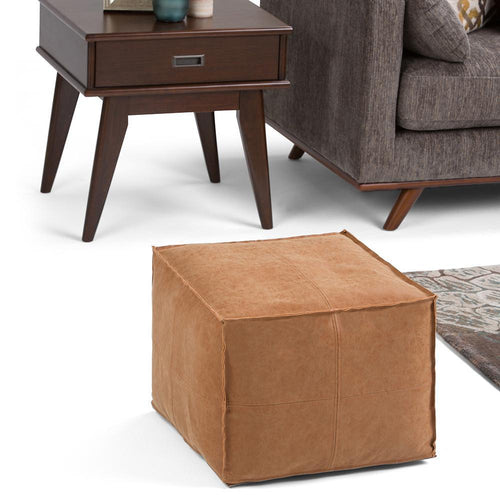 Distressed Brown | Brody Square Pouf