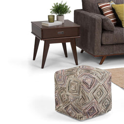 Jodi Patterned Cube Pouf