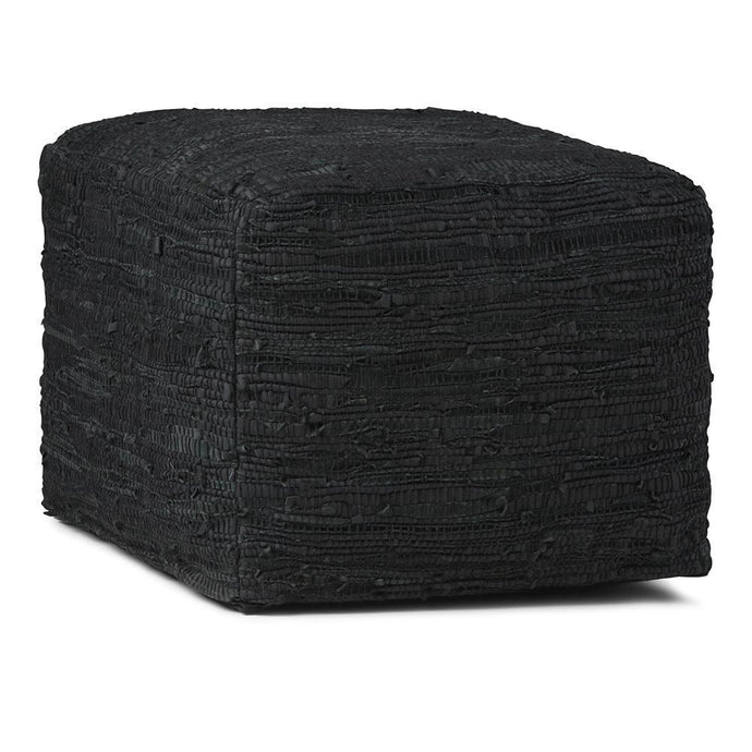 Black | Fredrik Woven Leather Square Pouf