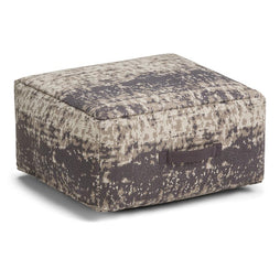 Taupe and Grey | Tilley Patterned Square Pouf