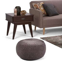 Grafton Velvet Round Pouf in Grey