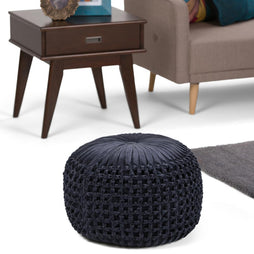Renee Velvet Round Pouf in Navy
